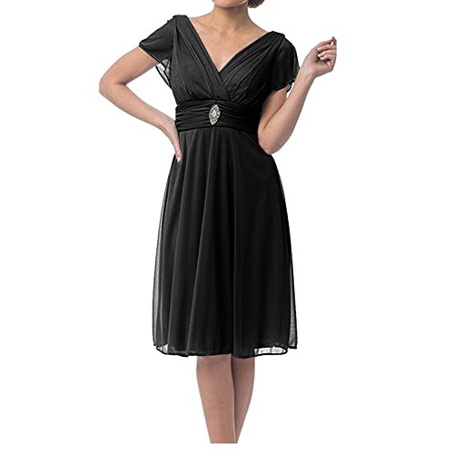 H.S.D Women's Sexy V Neck Short Chiffon Mother Of The Bride Dress