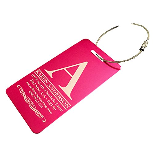 (Personalized Luggage Tags Gifts with Engraved Design (Anderson Design) - Elegant and Durable Travel Suitcase Name Tags, Gift for Travelers Men and Women (2 Luggage Tags, Pink))