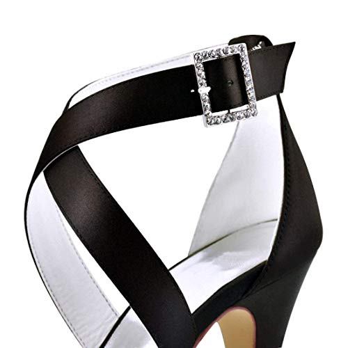 De Abrigo 5 Hhgold Vestido Tobillo 7 Tamaño Sandalias Hebilla Reino Unido Señoras Satinado color Boda Moda Negro 6qtxtfr0pw