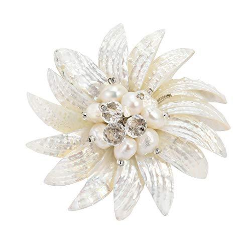 - AeraVida Dancing White Petals Mother of Pearl-Cultured Freshwater Pearl Pin or Brooch