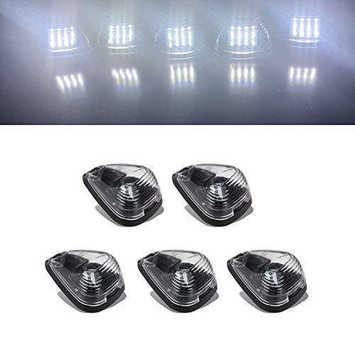 16LED Smoked Lens with Cold White Cab Roof Top Marker Clearance Running Lights Assembly For 1999-2016 Ford F-250 F-350 F-450 F-550 Super Duty 2017 2018 E-350 E-450 Super Duty Pickup Truck (White)