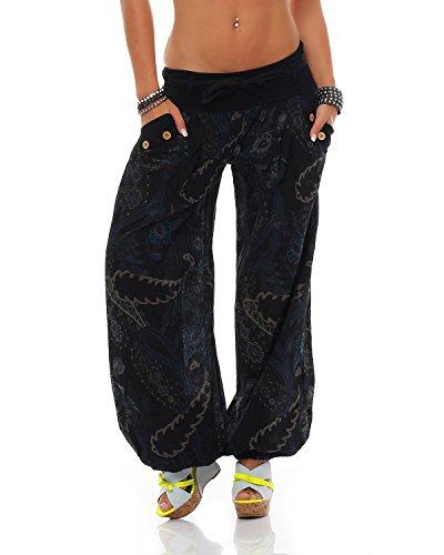 Nero Pantaloni Bloomers Cintura Zarmexx Ladies Con Unica Stampati Taglia Cotone In Summer dPtqUt