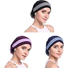 YI HENG MEI Women's Elegant Strench Flower Block Color Muslim Turban Chemo Cancer Cap