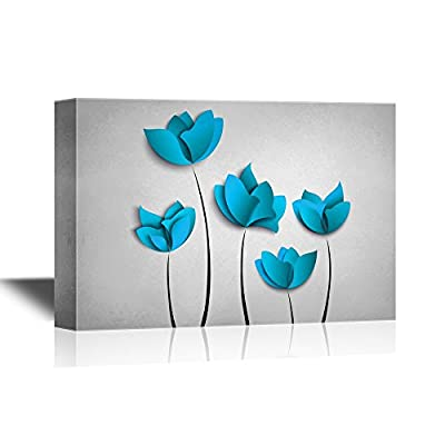 Abstract Blue Flowers on Light Silver Background