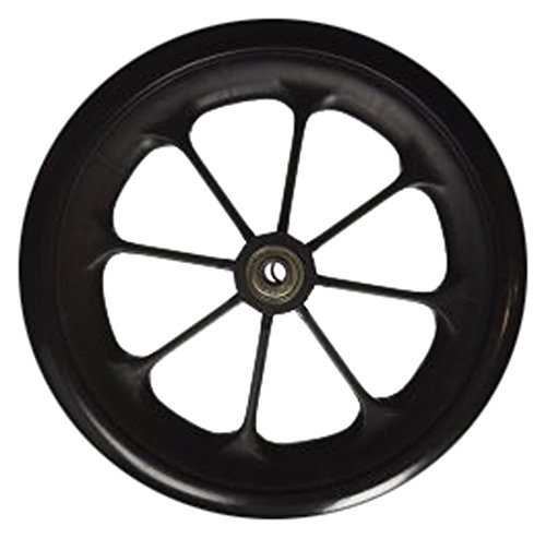 (Healthline 8 inch by 1 inch Replacement Wheels for Wheelchairs, Rollators, Walkers and More, Solid Flat Free Caster, Black)