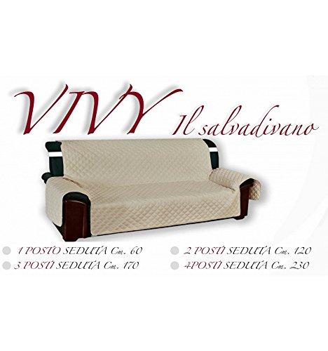 Funda para sofá «Vivy» para sofás de 4 plazas - Funda acolchada de color beige liso230 cm