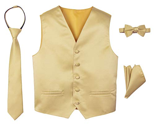 - Spring Notion Boys' 4-Piece Satin Tuxedo Vest Set 3T Antique Gold