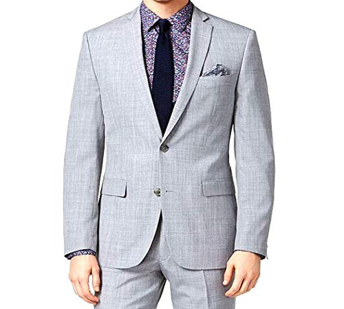 (Bar III Mens Light Gray Step Weave Slim Fit Notched Lapel Double Button Blazer)