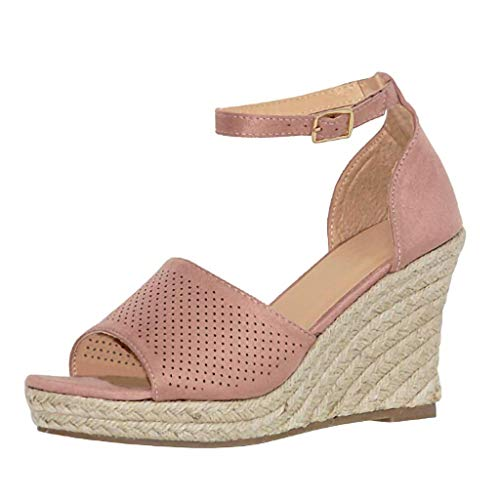 (♡QueenBB♡ Womens Peep Toe Platform Wedge Sandals Espadrille Ankle Strap Mid Heel Braided Sandals Pink)
