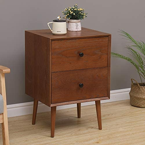 Rhomtree Mid Century Wood Bedroom Nightstand with Drawer End Table Organizer Sofa Side Table Living Room Coffee Table, Walnut