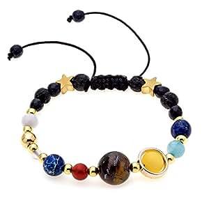 "[SICHENDZ] Guardian Bracelet"" Beaded Gemstone Solar System The Nine Planets Stone Bracelet for Women Men,An ideal Valentine's Day gift"