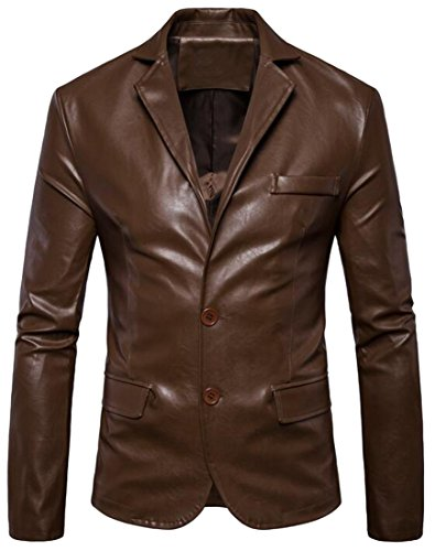 Mens 2 Button Leather Blazer - 9