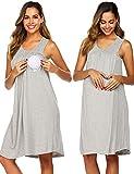 Ekouaer Women's Labor Delivery Maternity Sleepwear Hospital Nightgown Pregnancy Sleepshirts for Breastfeeding