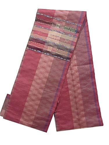 ドール感謝している慣性リサイクル 八寸名古屋帯 [じゅらく] 紬 横段模様 正絹