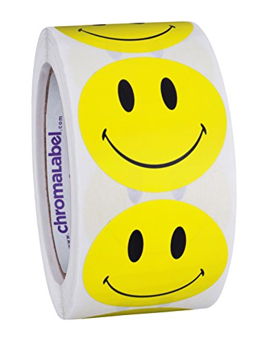 ChromaLabel 2 inch Smiley Face Stickers | 500 Happy Yellow Dot Labels w/Permanent Adhesive, Two inch diameter by ChromaLabel