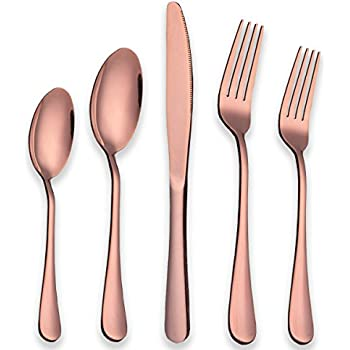 Berglander Stainless Steel Copper Color Flatware Set Rose Gold, 20 Piece  Rose Gold Plated Stainless