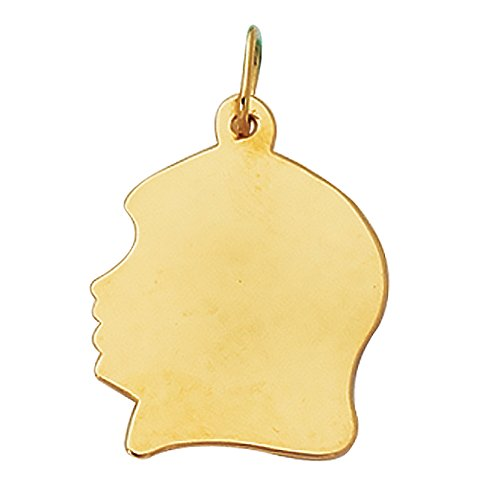 14K Real Yellow Gold Girl Head Face Charm Kids Silhouette by Ritastephens