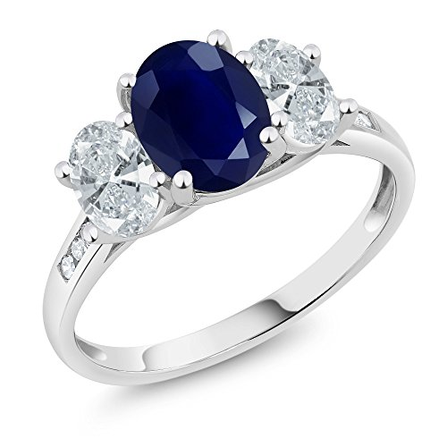 Blue Diamond Ring Accent (10K White Gold Blue Sapphire and Diamond Accent 3-Stone Ring (2.65 Ctw, Available in size 5,6,7,8,9))