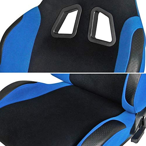 [L+R] Black/Light Blue Fabric Cloth Reclinable Sport Racing Seats w/Sliders by Spec-D Tuning (Image #5)