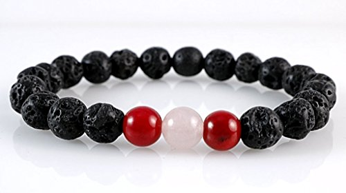 Natural Black Lava Stone with Genuine Pink Rose Quartz and Red Coral Round Beads Stretch Bracelet 7'' (Quartz Bracelets Rose Beaded)