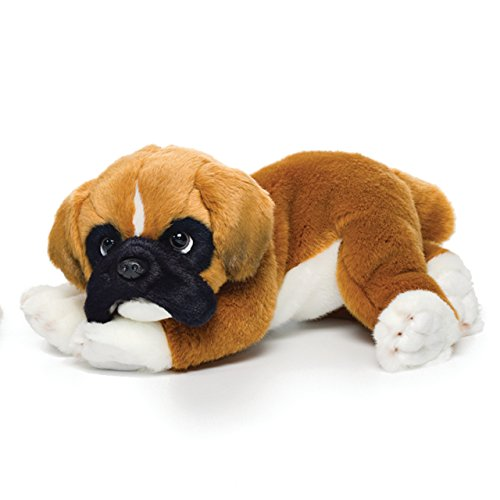 (Lounging Large Boxer Dog Carmel Brown Children's Plush Stuffed Animal Toy)