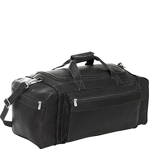 Piel Leather Large Duffel Bag, Black, One Size by Piel Leather