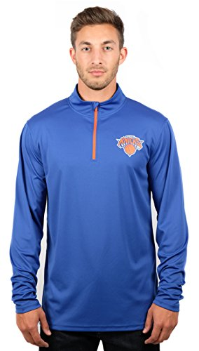 NBA New York Knicks Men's Quarter Zip Pullover Shirt Athletic Quick Dry Tee, Large, Royal -
