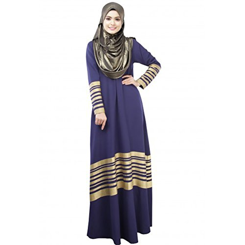 270a4fd7b8 LSERVER Womens Casual Middle East Moslem Traditional Long Sleeve Abaya Gold  Stripe Cotton Dress Full Length