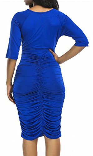 Jaycargogo Sleeve Neck Dress Womens 4 3 Blue Pleat Midi V Bodycon UTnTXrq