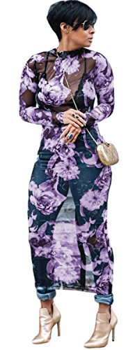 Womens Sexy Long Sleeve Turtleneck Floral Printed See-Through Bodycon Party Clubwear Dress (XL, Purple)