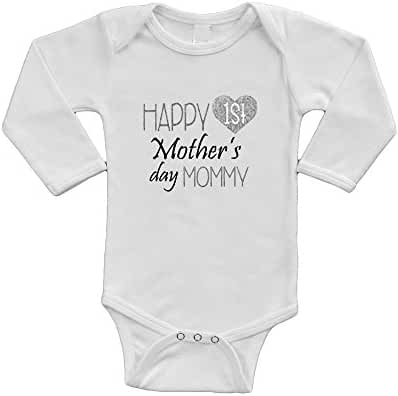 Infant Long Sleeve Onesie -Happy 1st Mother's Day Mommy