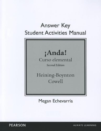 SAM Answer Key for ¡Anda! Curso elemental (Sam Answer Key)