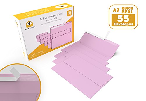 Pink 5 x 7 Envelopes - For 5x7 Cards - A7 - (5 ¼ x 7 ¼ inches) - Perfect for Weddings, Graduation, Baby Shower - 120 GSM - Peel, Press & Self Seal - Square Flap - (55 Pieces)