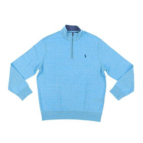 Polo Ralph Lauren Mens Jersey Half Zip Long Sleeve Pullover Shirt (X-Large, Blue Heather)