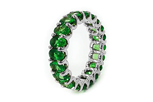 Albert Hern 5ct Natural Tsavorite Garnet Eternity Ring 18kt White Gold Band for Women Size 6 | Ideal for Weddings, Engagement, Bridal Set, Valentine's Day, Anniversary & Birthday Gift