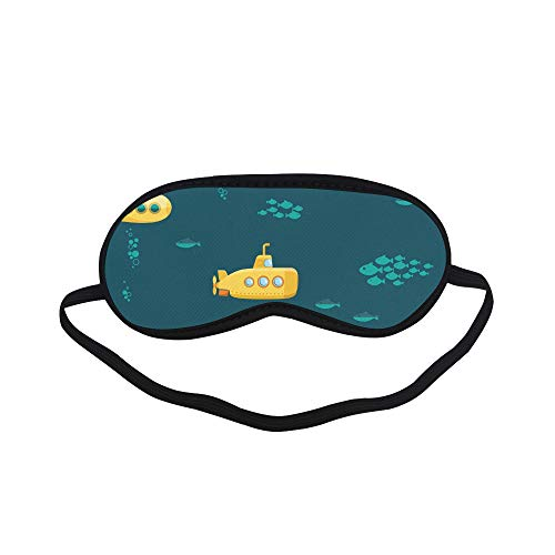 All Polyester Submarine Cute Cartoon Colorful Sleeping Eye Masks&Blindfold by Simple Health with Elastic Strap&Headband for Adult Girls Kids and for Home Travel ()