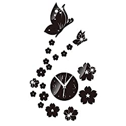 Whitelotous DIY Mirror Wall Clock Acrylic 3D Butterfly Flowers Wall Stickers Home Decor,35 X 61cm