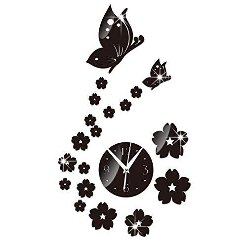 Frameless DIY Wall Clock,Awakingdemi DIY Mirror Wall Clock Acrylic 3D Butterfly Flowers Wall Stickers Home Decor -