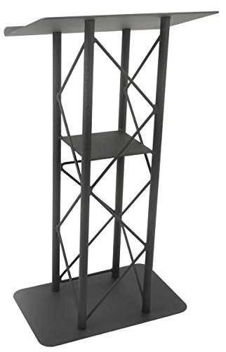 - Displays2go 25-Inch Truss Podium for Floor with Interior Shelf Aluminum and Steel - Black (LCT4PSTPBK)
