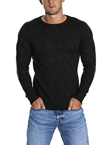 (Rocorose Men's Knit Pullover Sweater Winter Ribbed Long Sleeves Crew Neck Black)