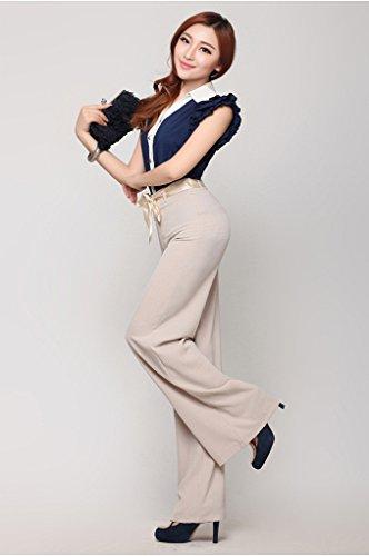 Lixmee Mujer Cintura Alta Color Sólido Loose Amplia Pierna Pantalones _02 Beige