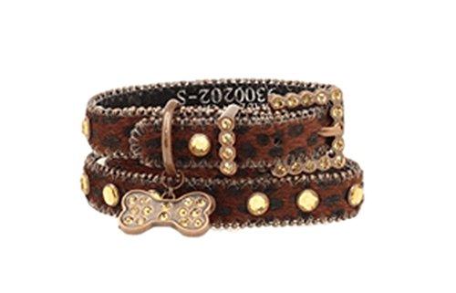 Blazin Roxx Unisex Leopard Print Collar Xs-S Brown X-Small Leopard Print Bone