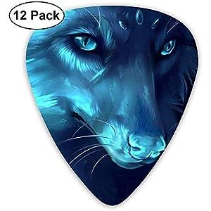 Sherly Yard 12er Pack Celluloid Plektren Mit Plektrenhalter Blue Wolf Print Für Gitarre Bass Mandoline Ukulele 0,46mm 0…