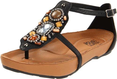 Kalso Earth Women's Enchant T-Strap Sandal,Black Worn Saddle,9 M US