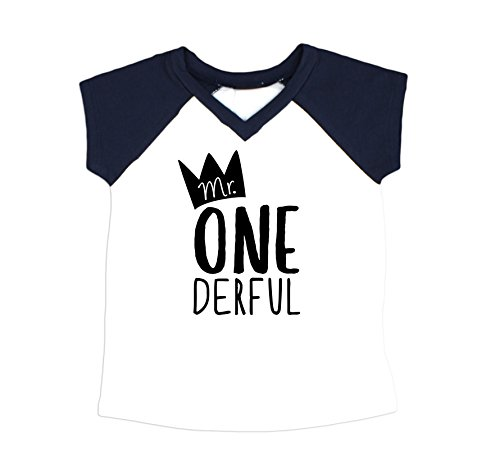 1st T-shirt - Boys 1st Birthday Outfit Mr One-Derful Baseball Tee Shirt for Boys 1st Birthday Shirt Short Sleeve Navy Raglan
