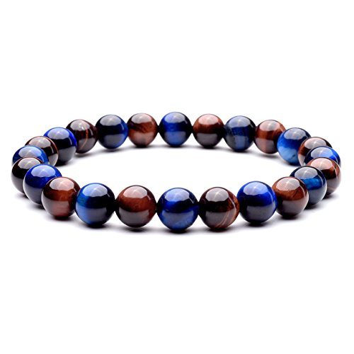 Jovivi 8mm Natural Yellow/Red/Blue Tiger Eye Stone Gemstone Elastic Stretch Bracelet for Men Women