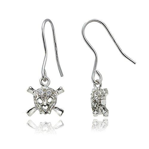Sterling Silver Cubic Zirconia Skull and Crossbones Dangle Earrings