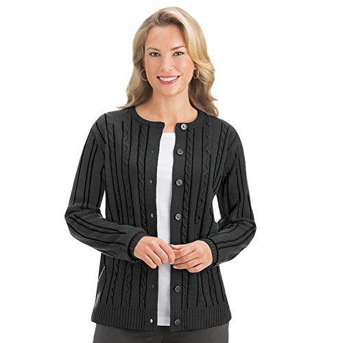 Collections Etc Women's Cable Knit Button Up Cardigan Sweater, Black, (Acrylic Shirt)