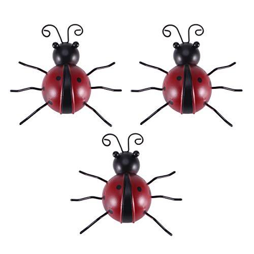 Vosarea 3pcs Iron Ladybug Metal Animal Hanging Wall Art Hanger Indoor Outdoor Garden Home Decoration(10cm)