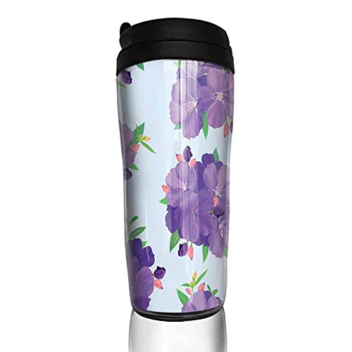 coffee cups with lids 12 oz Seamless pattern with beautiful purple princess flower or tibouchina urvilleana and leaf on blue background 12 oz,commuter cup for coffee